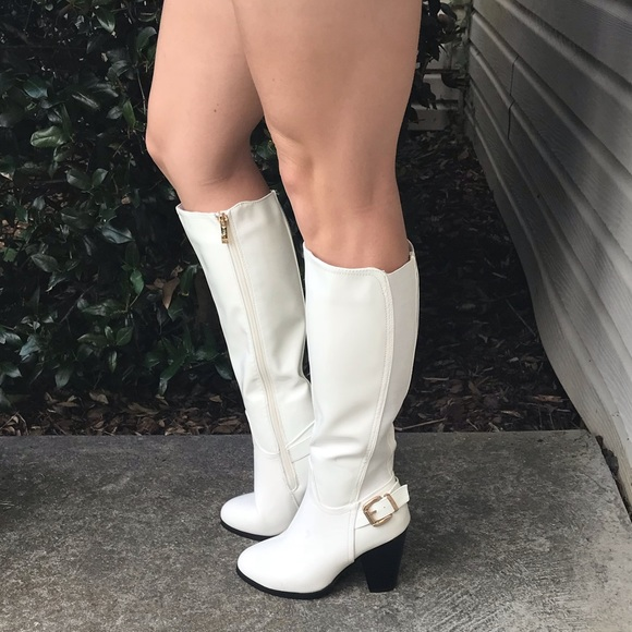 reputable site special discount of in stock White dressy knee high boots with moderate heel